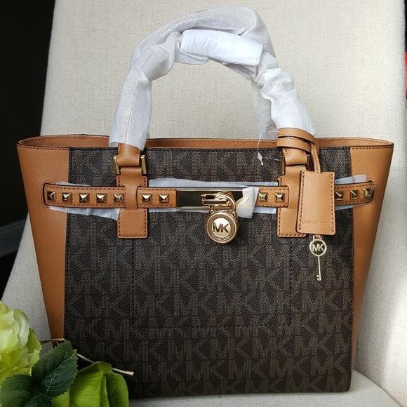 a7edbbb8566662 Michael Kors Bags | Lg Hamilton Traveler Studded Tote Bag | Poshmark